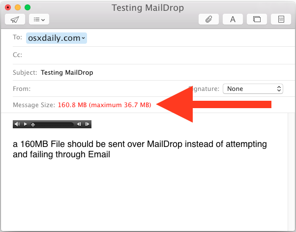 Email large files with Mail Drop