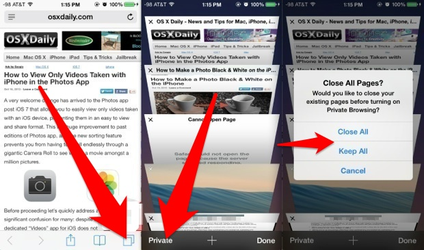 Use private browsing in iOS
