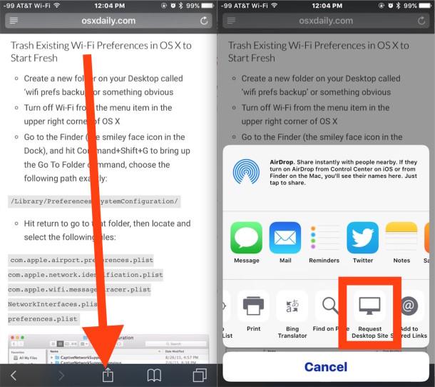 Request the desktop site in iOS Safari