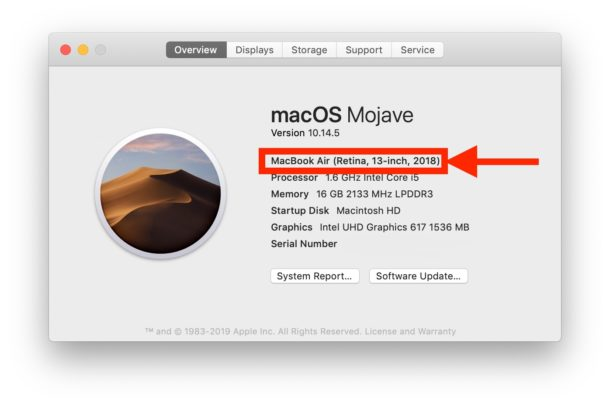 Find the Mac model year of a computer