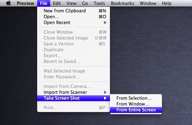 Take screenshots with Preview in OS X