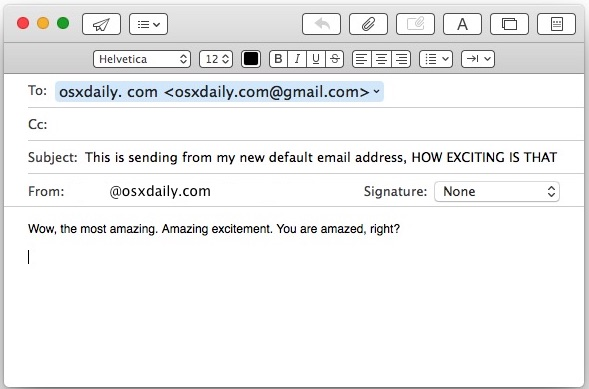 Default email address changed to Mail for Mac OS X