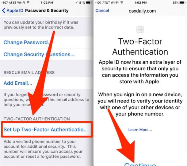 Choose to enable two-factor authentication
