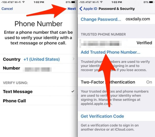 Add trusted numbers to two-factor authentication