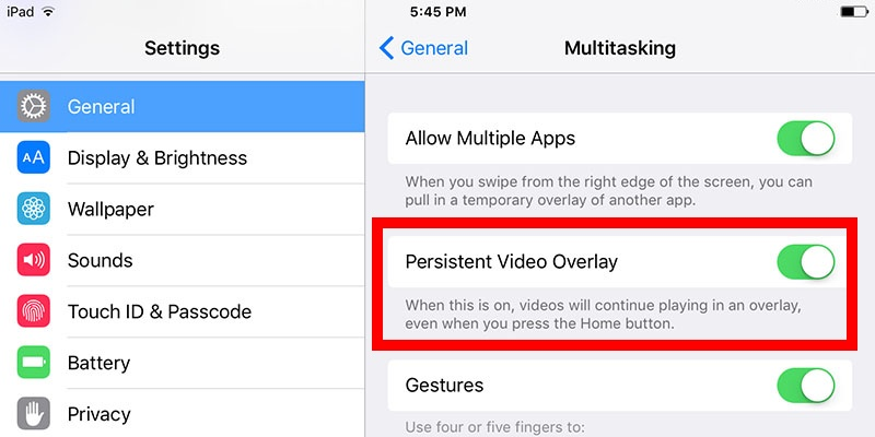 Disable permanent video overlay on iPad