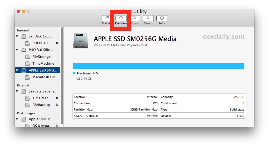 Select the partition button in Disk Utility