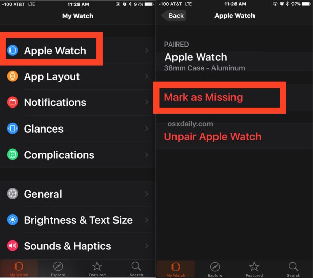 Mark Apple Watch as missing to turn on Activation Lock
