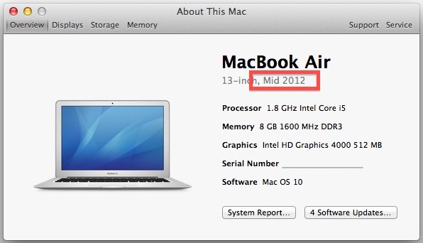Get the model year of the Mac