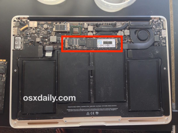Replaced SSD installed on MacBook Air