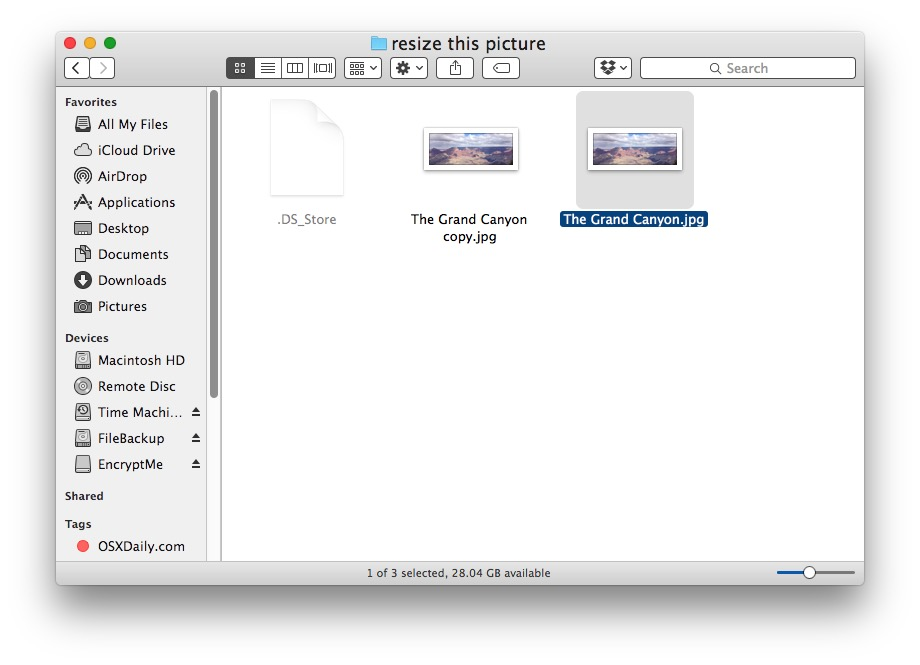 Find the image you want to resize in Mac Finder