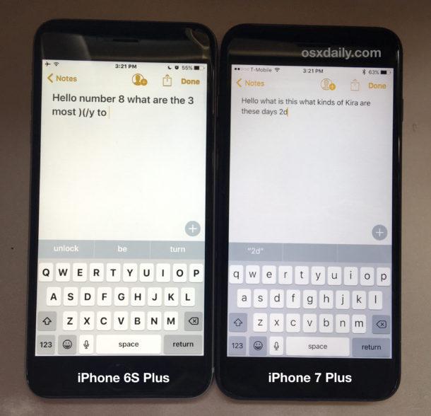 iPhone 7 Plus vs iPhone 6S Plus screen