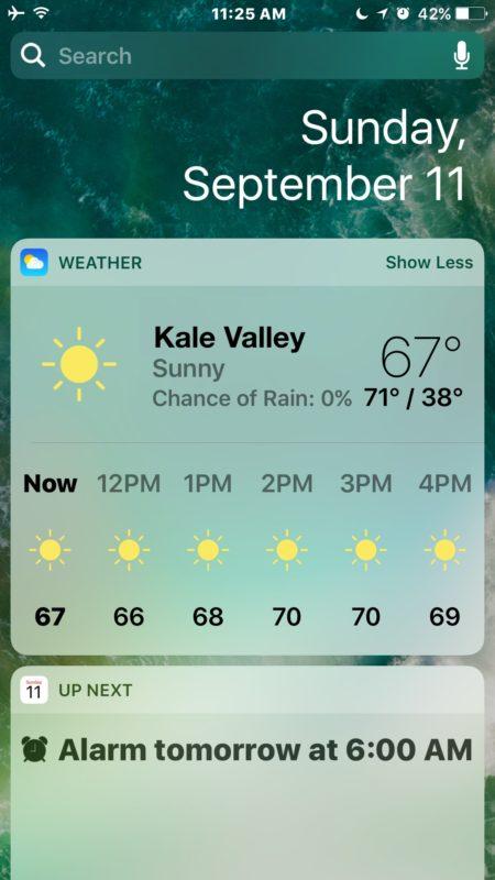 The iOS 10 widget lock screen