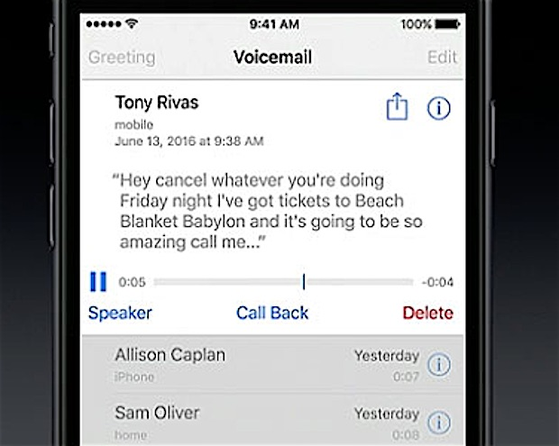 Voicemail transcription in iOS 10