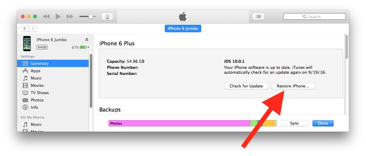 Downgrade iOS 10 with iTunes