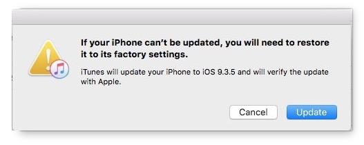 iOS 10 update failed iTunes message