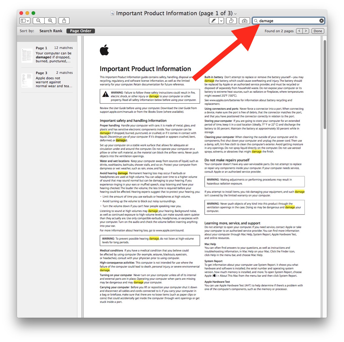 Search box in Preview to search PDF on Mac