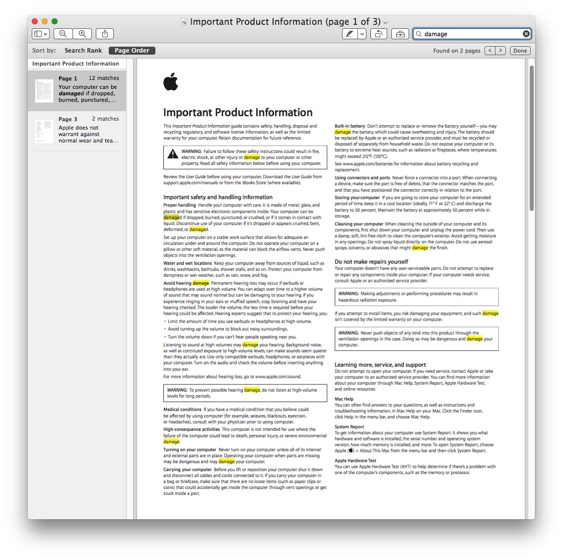 Search example for PDF text matches