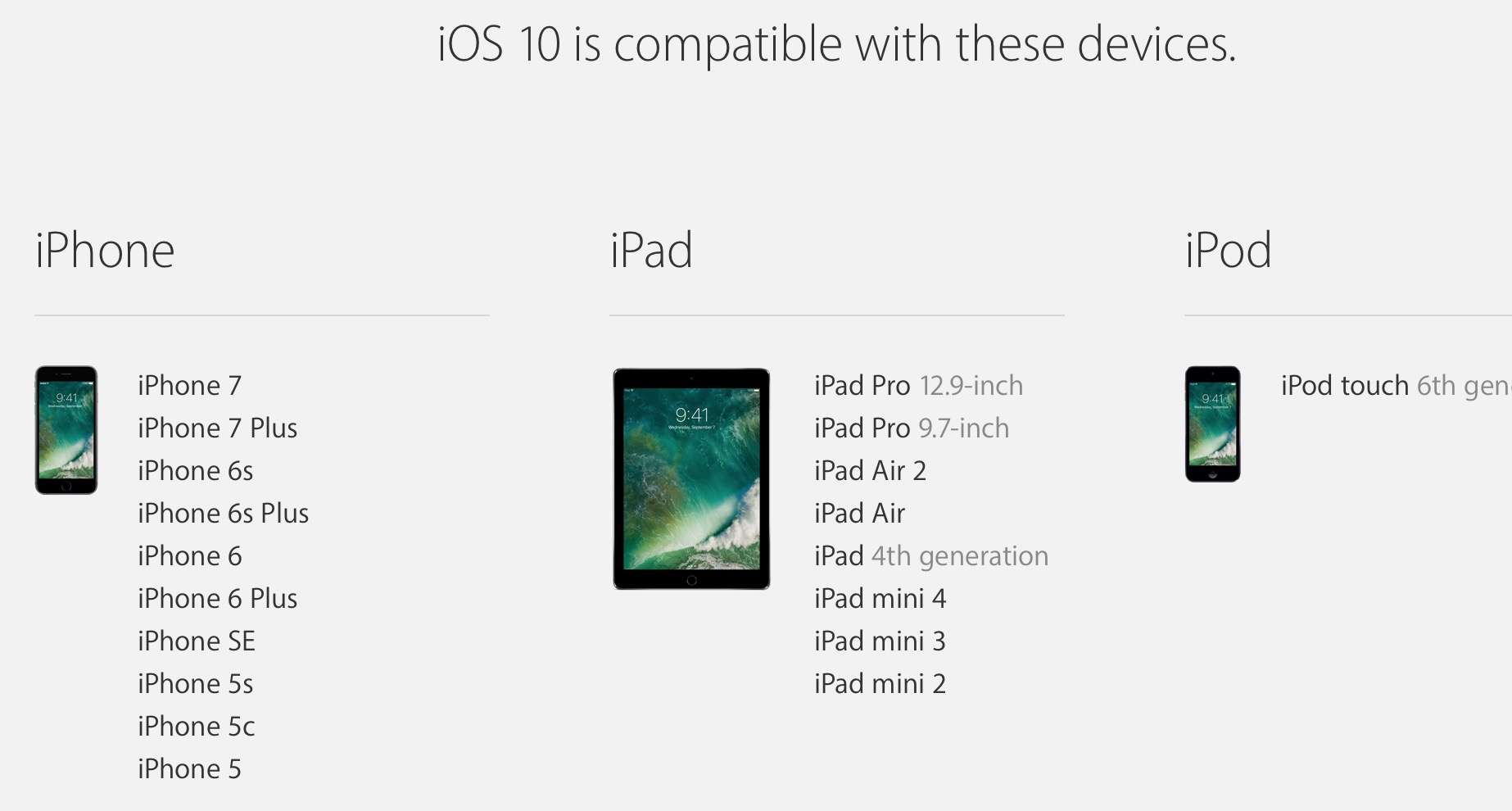 The official list of supported iOS 10 devices