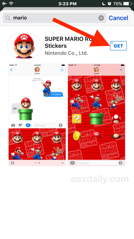 Download the sticker pack or app in Messages
