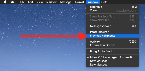 View past recipients of emails on Mac