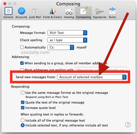 Set the default email address in Mail for Mac