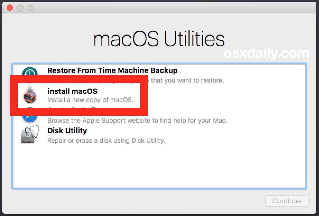 Choose to clean macOS Sierra