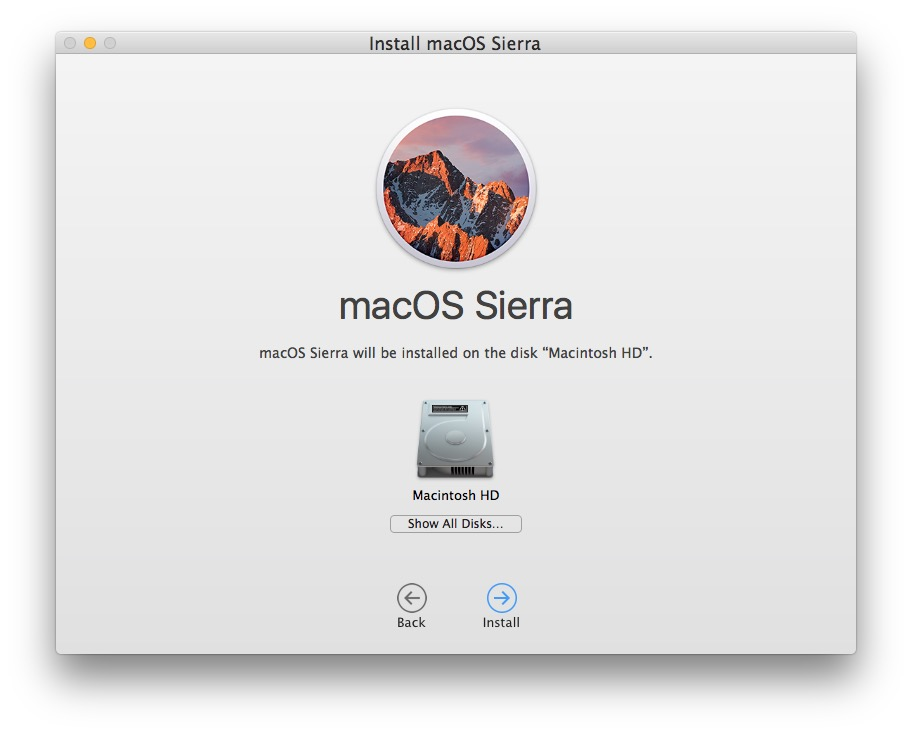 Choose Macintosh HD as the target disk to clean up the installation of macOS Sierra