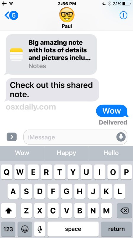 The receiving end of a note invitation in iOS