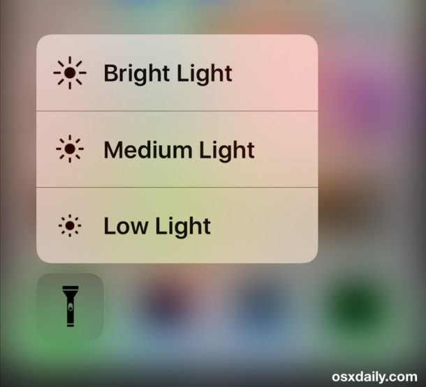 Adjust the brightness of the iPhone flashlight