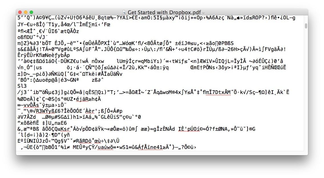 Opening a PDF file as Word DOC loads gibberish
