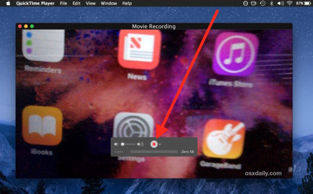 Click to record movie on Mac