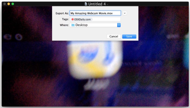 Saved file recorded video on Mac