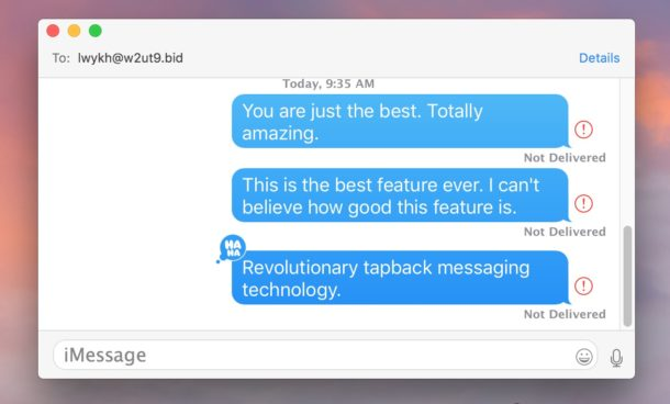 Tapback messages on Mac