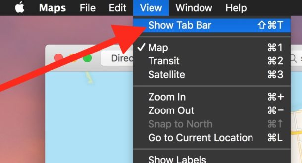 Show tab bar in Maps