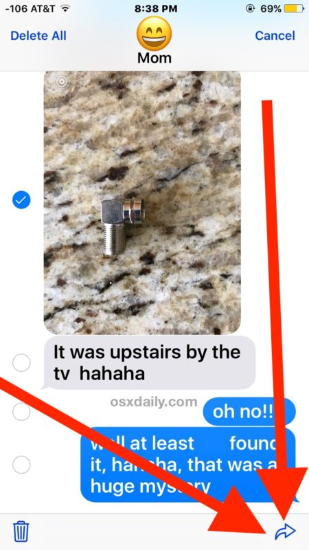 Tap the forward arrow button to forward the photo message in iOS