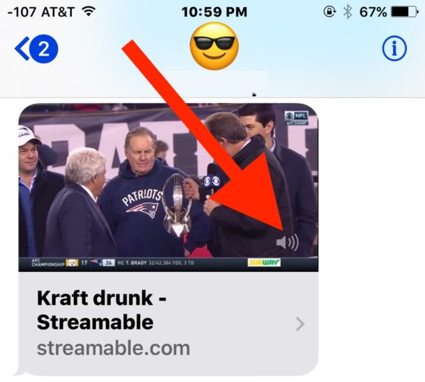 Mute the audio of embedded videos in messages