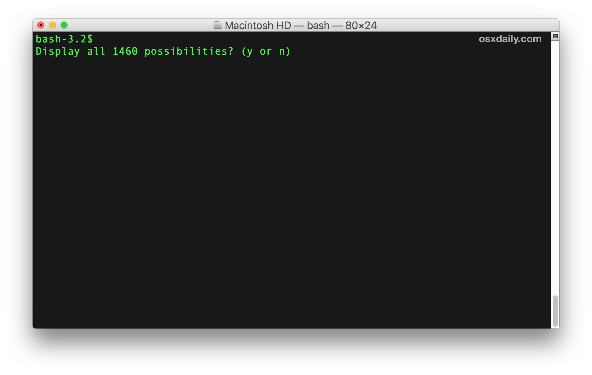 List all possible terminal commands on the Mac