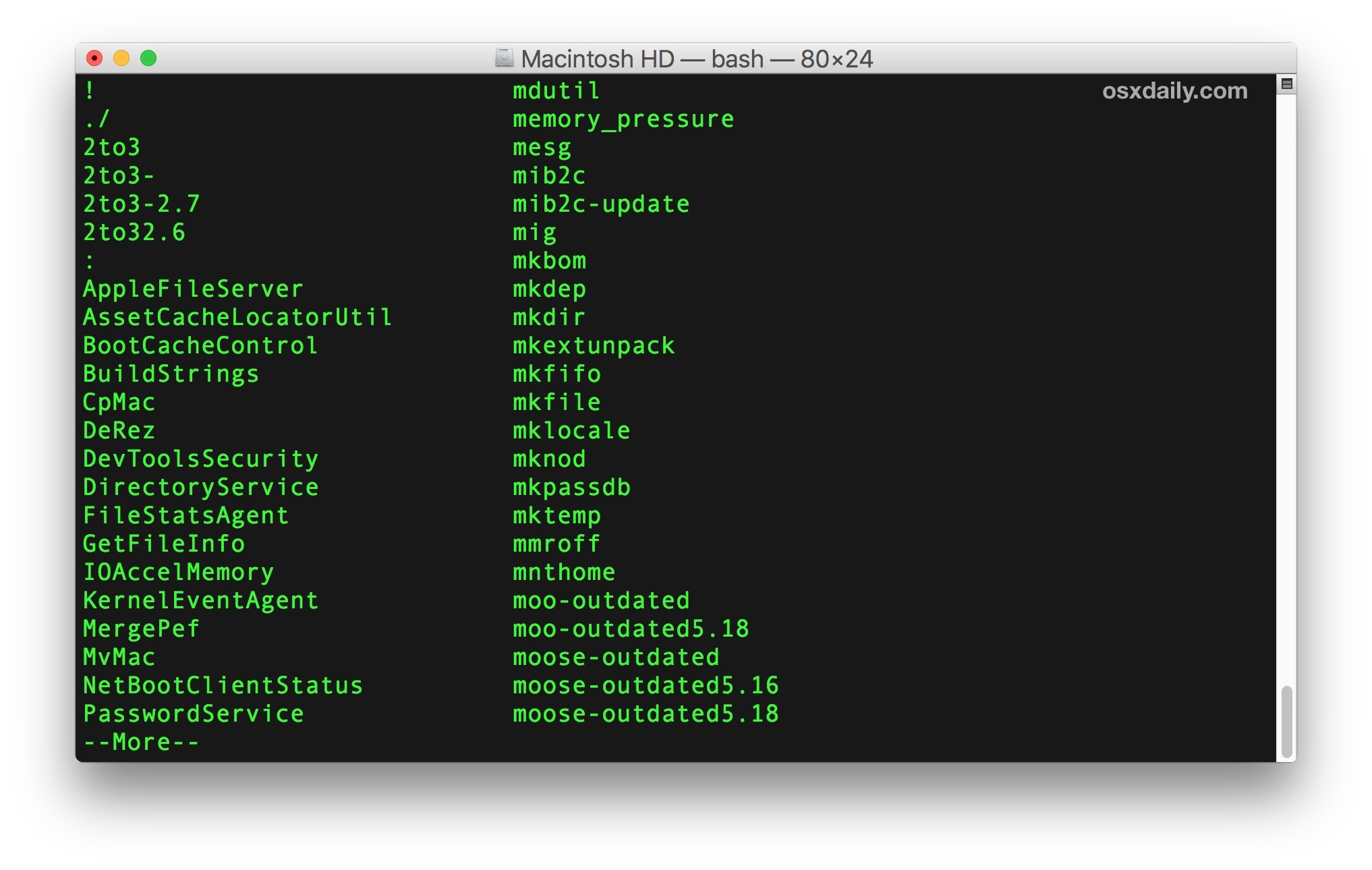 List all terminal commands on Mac