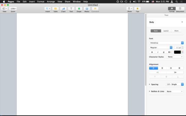New blank Pages document at launch for Mac