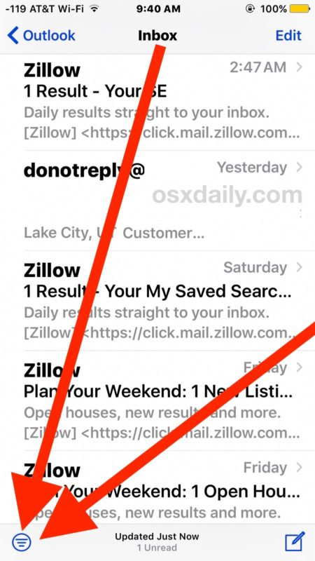 Easily view unread emails in iOS
