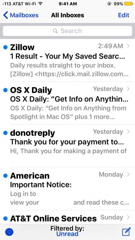 Only the unread emails in the iOS inbox are displayed