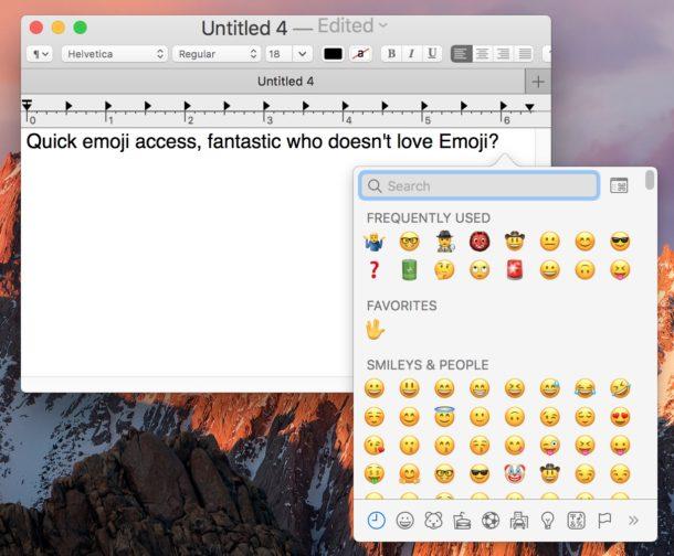 Quick access to Emoji