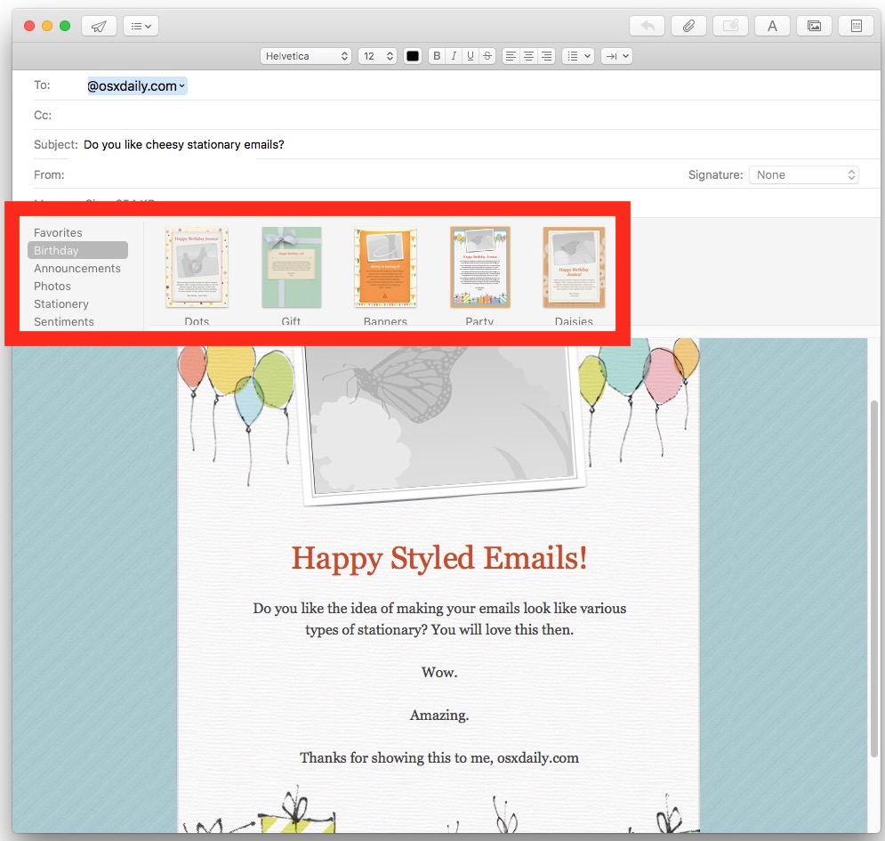 Personal emails with stationery browsing in Mail for Mac