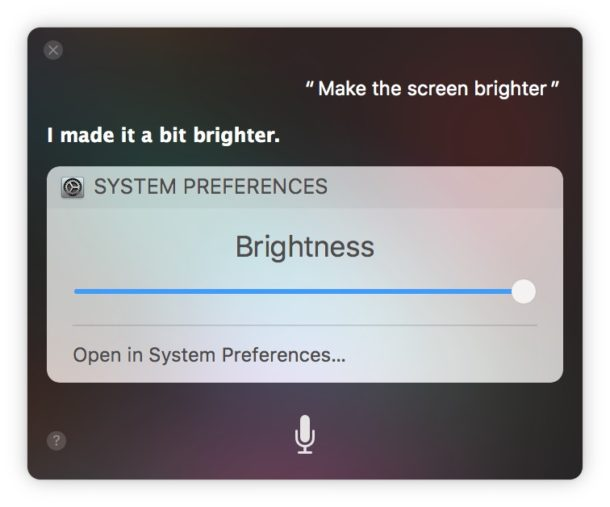 How to    make screen brighter on Mac with Siri voice commands