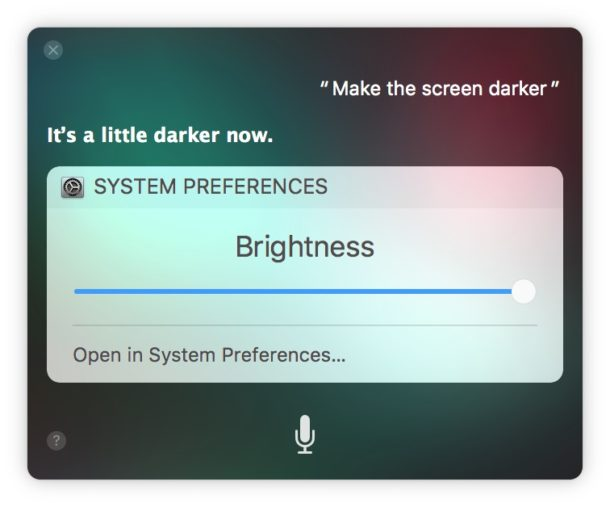 How to    darken screen on Mac with Siri voice commands