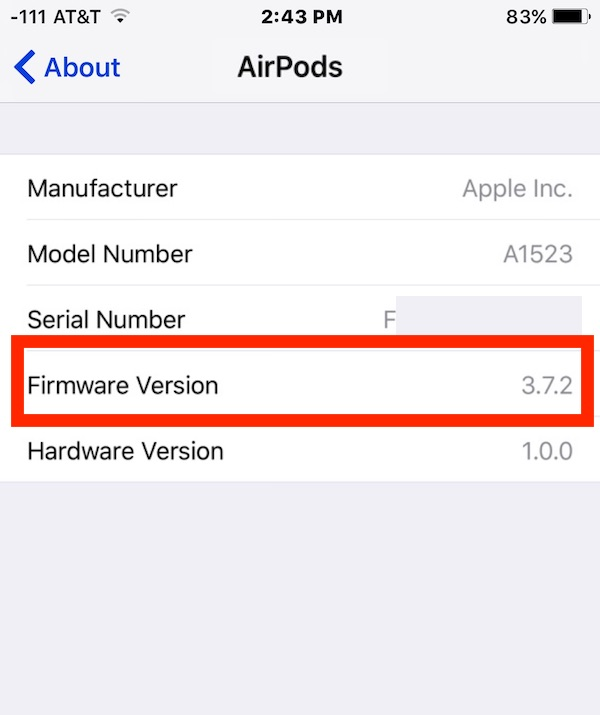 How to    check the firmware version of AirPods