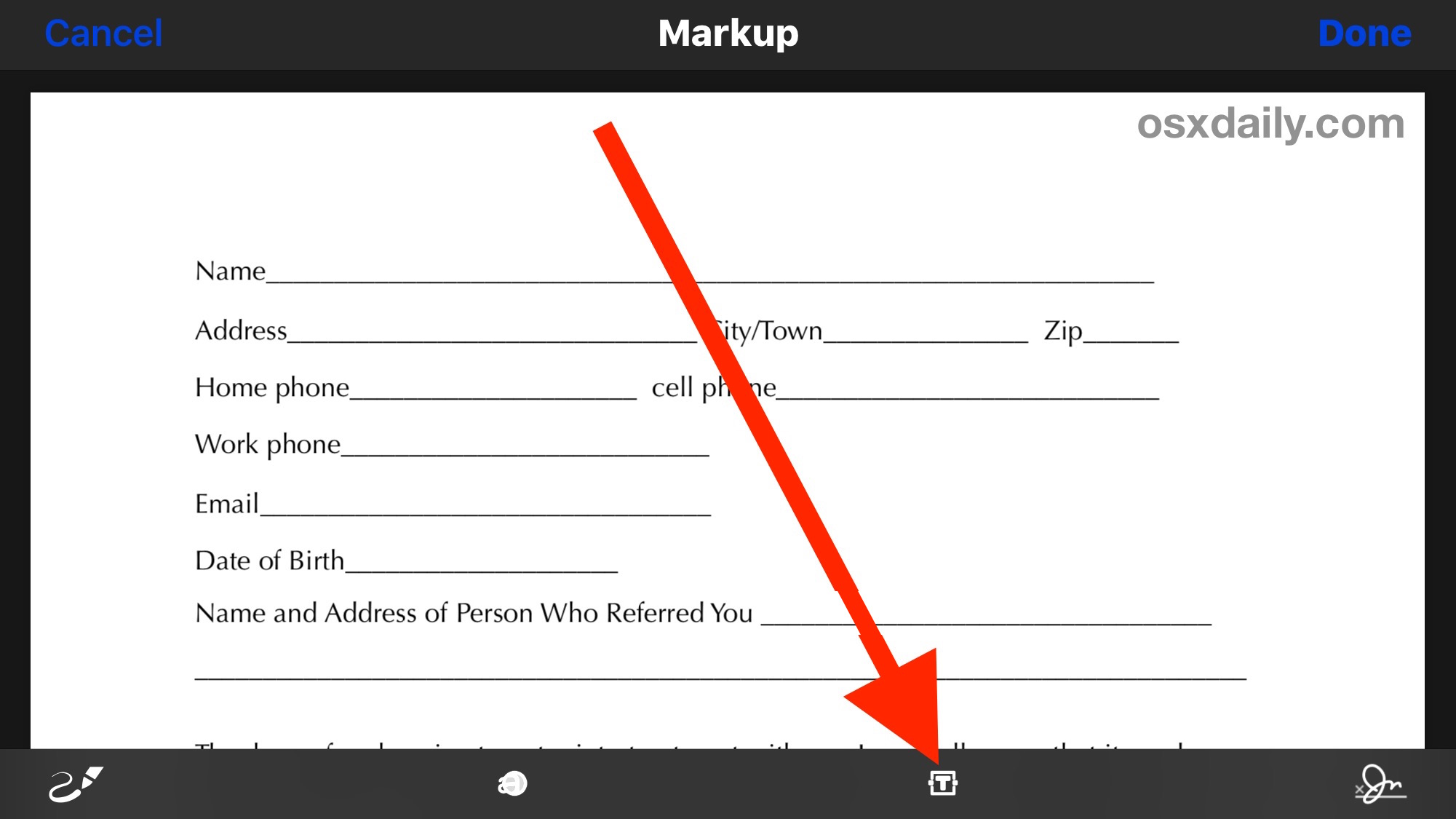 Fill out a PDF form and edit a PDF from iPhone with Markup