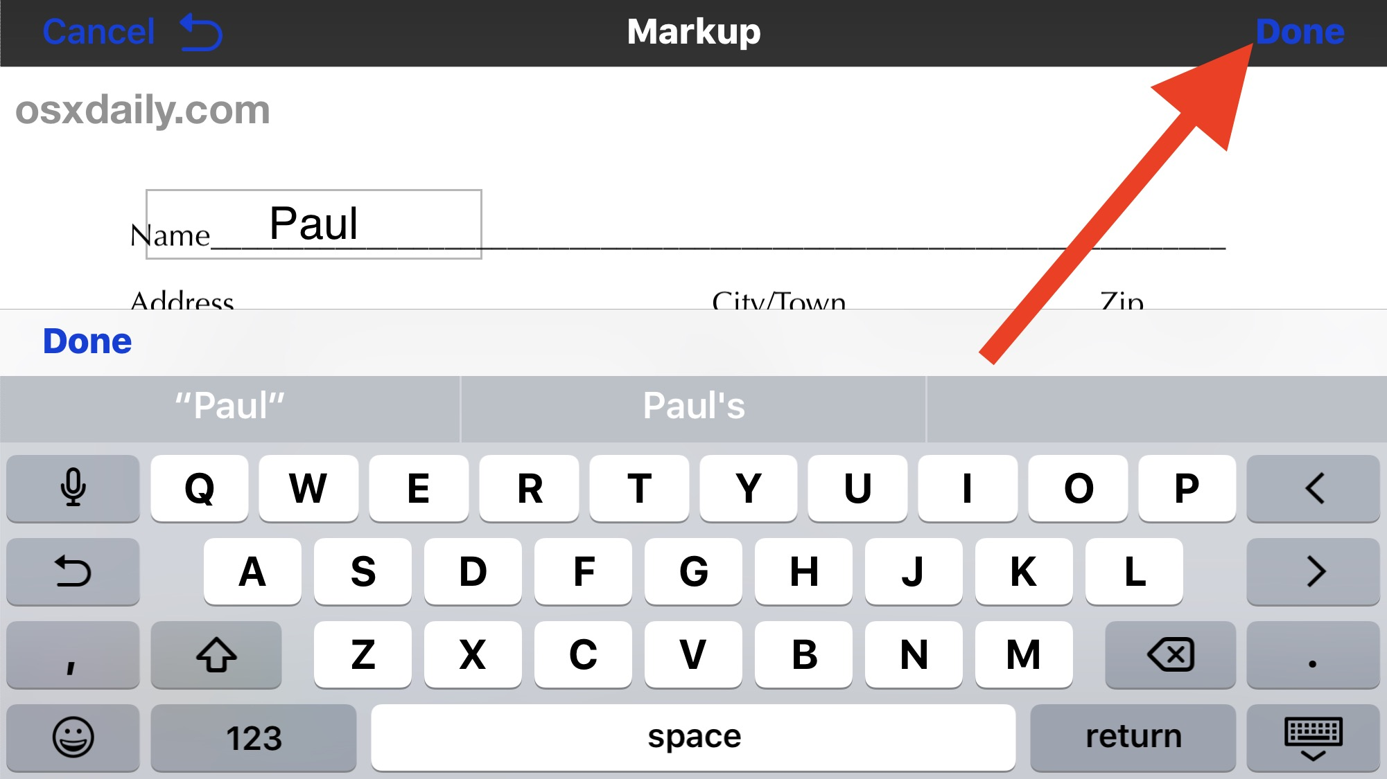 Finish editing the PDF file and save it to iPhone