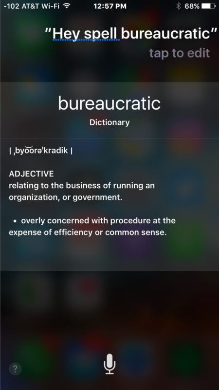 Spelling words with Siri on iPhone