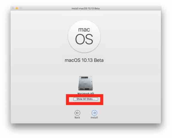 Choose Show all drives to select the macOS High Sierra partition to install on